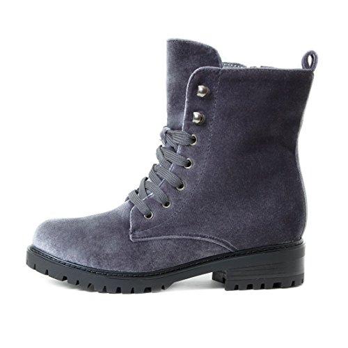 Damen Stiefeletten Worker Boots Schnürstiefel in Samtoptik Grün
