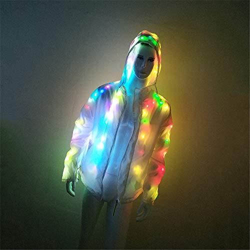 ZQ Hoodie Baseball Jacke Glowing Frauen Männer Mit Kapuze Kostüm Mantel LED Glowing Party Cosplay Kostüm,L
