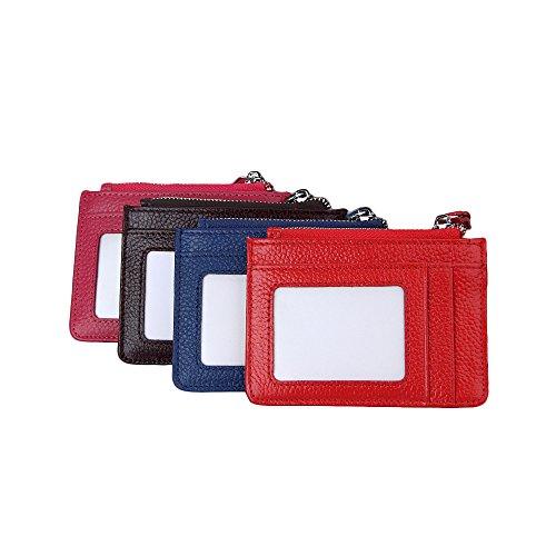 Zhi Jin 1pc Leder ID Badge Holder Key Ring Bus Kreditkarte Ärmeln Bildschirmschutzfolien Wallet Organizer Fall mit Reißverschluss Büro Reise schwarz (Vertikale Zipper Wallet)