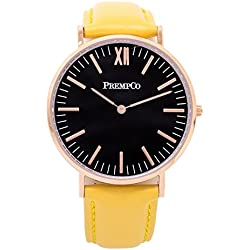 Prempco - Nobel - Ladies Watch - Black/Rose Gold - Quick Change Watch Wrist Band, Yellow