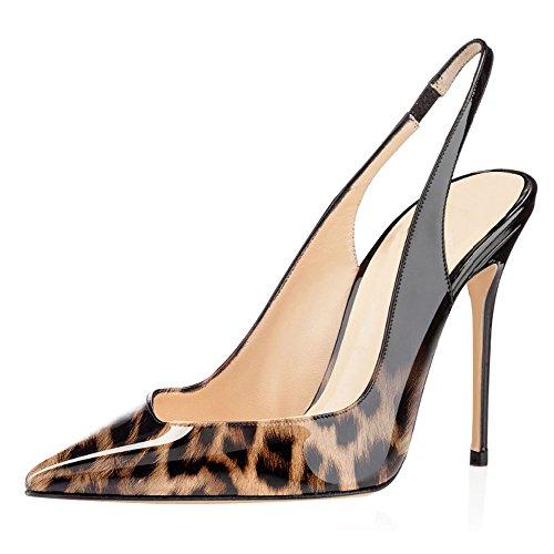 ELASHE Damen Stiletto Pumps | 10CM Pointy Toe Slingback Sandalen | Hochzeit Schuhe Leopard-Schwarz EU42