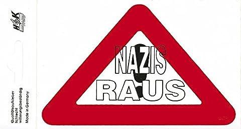 PVC Aufkleber Applikation - NAZIS RAUS - 303063 - Gr. ca. 13 x 8,5 cm (8,5 Aufkleber)