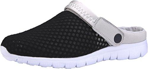 Gaatpot Damen Herren Clogs Pantoletten Slip on Outdoor Hausschuhe Freizeit Mesh Strand Sandale Schuhe Sommer Schwarz 43.5 EU = 45 CN