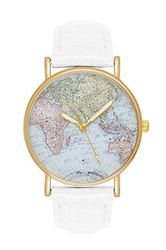 Damenuhr Weltkarte Uhr Globus Karte World Map Farbe: Weiß Gold Damen Armbanduhr Blogger Bloggeruhr Mingbo Armband Hipster Trend Welt Karte Mingbouhr Rosen Blumen Rosegold Rose Quarzuhr (Welt Kostüm)