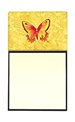 Carolines Treasures Butterfly on Yellow Refillable Sticky Note Holder or Postit Note Dispenser, 3.25 by 5.5, Multicolor