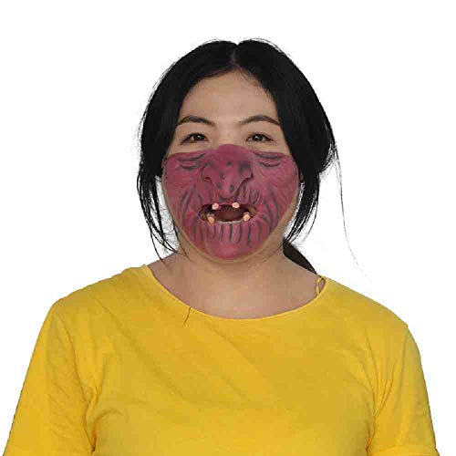 Sie Witze Adult Auf Kostüm - DSWIME Halloween Maske Scary Horror Maske Funny Half Face Masquerade Adult Party Supplies Horror Halloween Party Decor Kostüm Requisiten