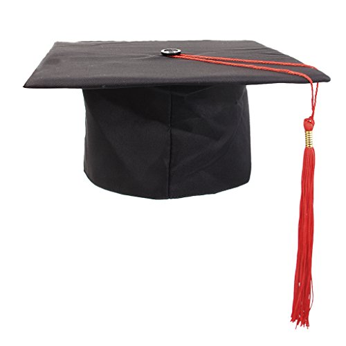 Sharplace Doktorhut schwarz Abschlussfeier Uni Bachelor Doktor Diplom Master Hut in 4 Farben - Rot, wie - Kostüm Für Lehrer
