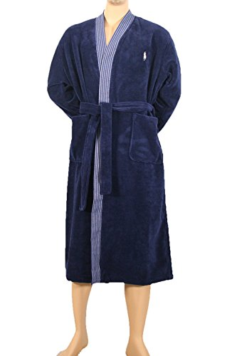 Polo Ralph Lauren Kimono Robe Herren Bademantel Hausmantel Leichtfrottee L/XL Navy (001) -