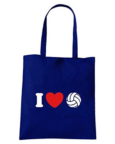 T-Shirtshock - Borsa Shopping TLOVE0088 i love volleyball tshirt Blu Navy