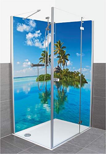 Artland Qualität I Duschrückwand Fliesenersatz Bad Duschwand Motiv Landschaften Amerika Karibik Foto Blau F1NZ Tropisches Paradies Insel Palmen Meer