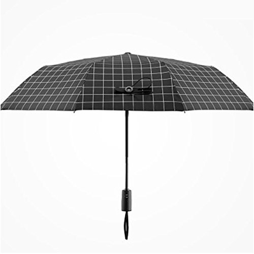 Automatic Men and Women Grid Umbrella Dual-use Reinforced Umbrella Folding Umbrella,Sun Umbrella- Black Rubber Sunscreen Anti - Ultraviolet Black White