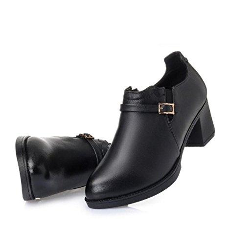 GRRONG Les Singles Féminines Dautomne Rondes De Talons Hauts Confortables Et Respirants Avec Des Chaussures Solides Antidérapantes Résistantes à Lusure Black