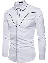 BUSIM Men's Long Sleeve Shirt Autumn Casual Slant Stripe Solid Color Casual Fashion Slim T-Shirt Buttons Lapel...
