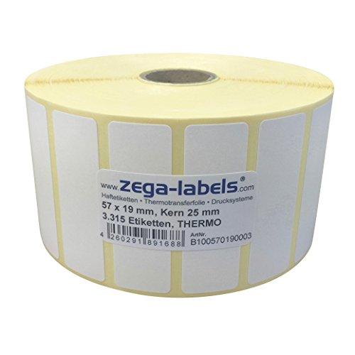 Desktop-barcode-drucker (Thermo Etiketten auf Rolle - 57 x 19 mm - 3.315 Stück je Rolle - Kern: 25 mm - aussen gewickelt - permanent haftend - Druckverfahren: Thermodirekt (Drucken ohne Farbband))