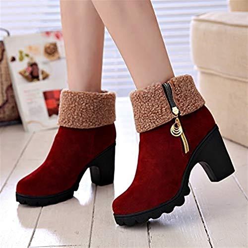 ZHULIAN Herbst Winter Booties, plus Samt warm halten Leder High Heels Baumwolle Schneeschuhe (Color : B, Größe : Thirty-five) -
