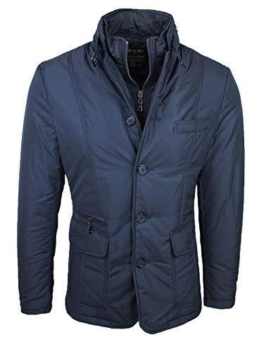 Mat sartoriale giaccone piumino uomo invernale casual elegante giubbino giacca trench con gilet interno (blu, l)