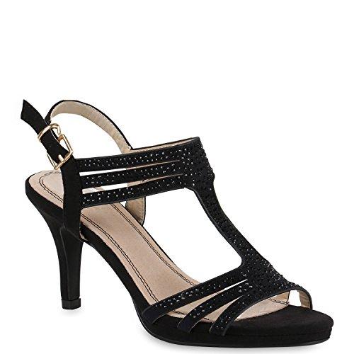 Damen Sandaletten Glitzer | Riemchensandaletten Lack | Party Schuhe Metallic | Stiletto Sandalen Strass Schwarz Schnalle