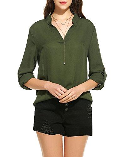 OURS Damen Sommer V-Ausschnitt Rüschen Chiffon Langarm Bluse Lose Oberteile T-Shirt Langarmshirt Armee-Grün