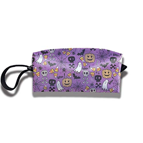 ag Halloween Doodle with Skulls,Bat,Storage Bag Beauty Case Wallet Cosmetic Bags Aufbewahrungstasche Kosmetiktasche ()