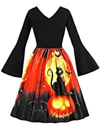 FeelinGirl Halloween kostüm Damen Printed Spitze Kurzarm Abendkleid Swing Kleid