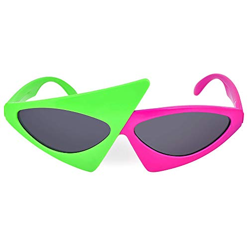 Privatecustomization Novelty Party Sunglasses Hip Hop Roy Purdy 80er Jahre Asymmetric Glasses Hot Pink Neon Green Glasses Hip Hop Dance Halloween ()