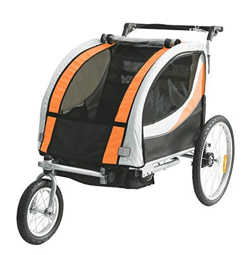 Tiggo Jogger Remorque à Vélo 2 en 1, pour Enfants + Amortisseur 902-D03 JBT03N - Orange-Noir