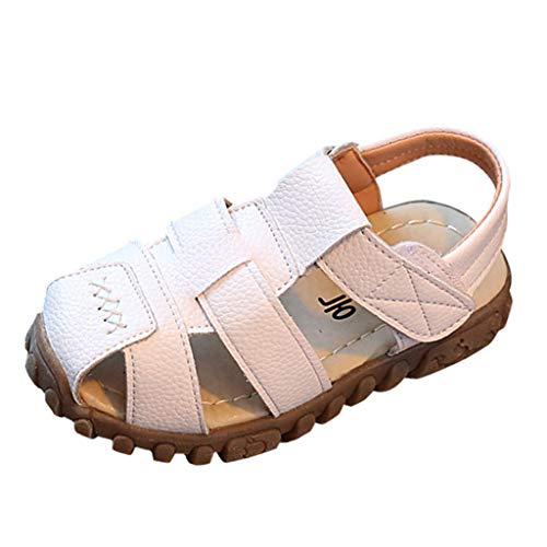 WEXCV Unisex-Kinder Junge Mädchen Geschlossen-Toe Sommer Flache Sandalen Elegant Weich Freizeitschuhe Frühjahr-Sommer Modisch Lauflernschuhe