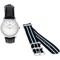 Orologio Donna, Think Positive, Modello SE W95 Flat Watch Medium Acciaio, Cinturino Di Pelle Bianco Made In Italy E Tessuto/ Cordora, Blu, Azzurro, Blu E Azzurro