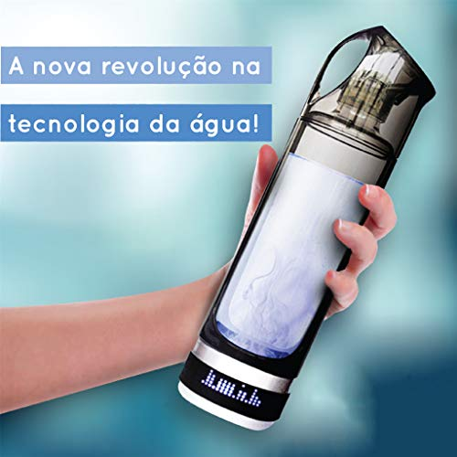 Deluxe   Botella de Agua Portátil Hidrogenada   Hidrogenador de agua Portátil   Agua Hidrogenada   500ml de capacidad   Purificador de Agua con Hidrógeno   Pantalla Led   Propiedades Antioxidantes