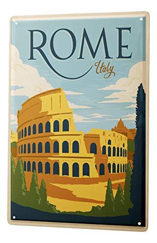 Blechschild Reisen Küchen Deko Rom Italien Metall Wand Schild 20X30 cm
