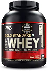 Optimum Nutrition (ON) Gold Standard 100% Whey Protein Powder - 5 lbs, 2.27 kg (Double Rich Chocolate), Primar