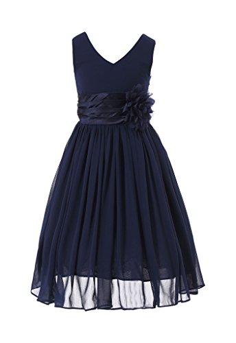 HAPPY ROSE Juniorbrautjungfernkleid Abschlussball-Partykleid Chiffon Marine Blau 10_Jahre - Mädchen Blau Kleid