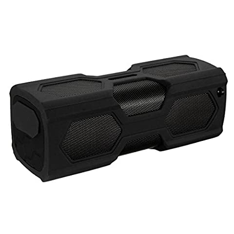 ELEGIANT Portable Outdoor Sport Boombox NFC Wireless Bluetooth Speaker Dustproof Shockproof Bass Subwoofer Sound Speaker 2 in 1 function with 3600mAh Power Bank/ Mic / NFC Function and Metal Hook Loop noir