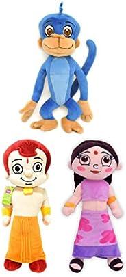 Chhota Bheem Jaggu Plush Toy, Multi Color (22cm) & Chhota Bheem Chutki Plush Toy, Purple (20 cm) & Chh