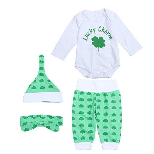 Amosfun 1 Set ST. Patricks Day Infants Lucky Charm Kostüme Kopfband Long Sleeve Romper Clover Printed Pants Hat Outfit - Lucky Charms Kostüm
