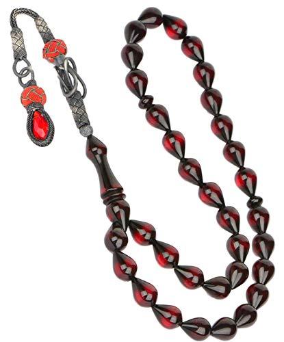 Gök-Türk 925 Sterling Silber Gebetskette - Tesbih 33 Perlen Tasbih Islam Muslim Modell 19 - Bernstein Farbe Kehribar Rot (Muslimischen Gebet Perlen Halskette)