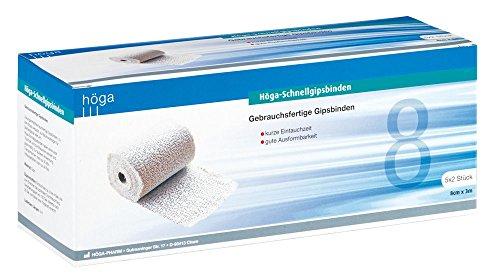 Höga Schnellgipsbinden, gebrauchsfertige Gipsbinden 8 cm x 3 m, á 5x2 Stück im Karton, für alle Arten von Knochenbrüchen - ideal zum Basteln und Modellieren