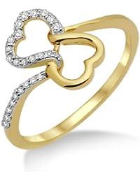 Miore - MF8017R - Bague Femme - Coeurs - Or jaune 750/1000 (18 carats) - Diamants 0.12 cts