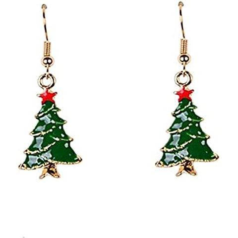 YKQJING carino smalto orecchini albero di Natale