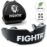 FIGHTR Protector bucal de Primera Calidad de la Marca Máxima oxígeno y Seguridad. Protección Dental sin BPA de fácil Ajuste, Incluye Caja de MMA, Muay Thai.