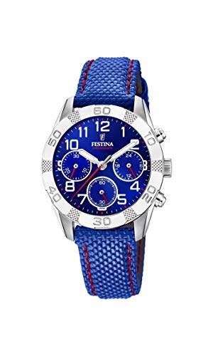 Festina Jungen Chronograph Quarz Uhr mit Stoff Armband F20346/2