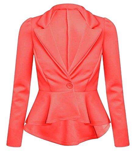 Neue Frauen Plus Size Single Button Langarm-Blazer-Jacken 36-52 (46, Coral)