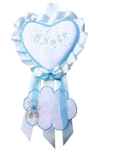 Fiocco nascita azzurro coccarda cuore da ricamo