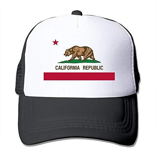UUOnly Einstellbare California Republic Snapback Cap Trucker Mütze/Kopfbedeckung schwarz