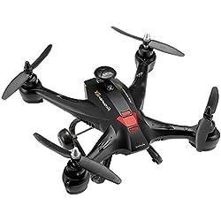 4 Channel 6-Axis 5.8G FPV en tiempo Real transmisión RC girocompás abejón helicóptero Quadcopter juguete con 2.0 MP cámara luz Negro EU