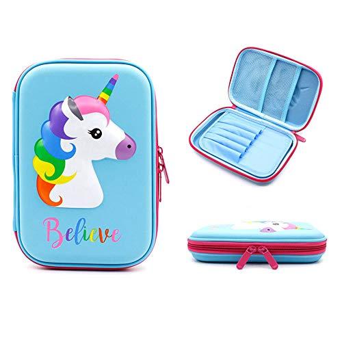 Estuche para lápices, estuche para bolígrafos de unicornio, caja de papelería, estuche para lápices de colores, estuche para niños con bolsa de cosméticos para niñas, organizador de papelería