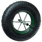 """WerkaPro 10357 - Roue gonflable Increvable 15""""- D : 385 x 95 -Diamètre de l'axe : 20 mm - Longueur de l'axe : 242 mm - Idéal pour diable, chariot"""