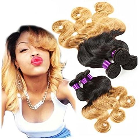 XQXHair 3Pcs lotto 8 100% non trasformati estensioni dei capelli peruviani Ombre Hair Extensions 2 tonalità di colore T1B / 30 onda del corpo umano del tessuto dei capelli Bundles-30 , 24 24 24