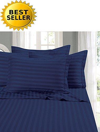 Elegant Comfort 1500 Thread Count 4-Piece STRIPE Bed Sheet Set, Queen, Navy by Elegant Comfort -