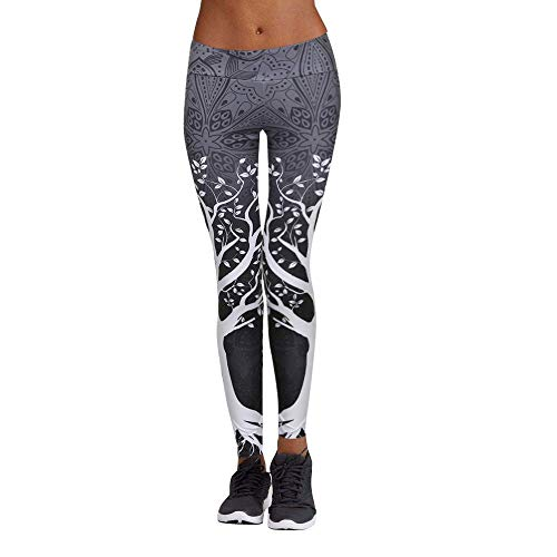 Jogginghose Damen Gym Staresen Yoga Hose Dünne Lange Leggings Damen Bleistifthosen Zeichendruck Damen Yoga Leggins Hose Muster Hüfthose Blumenmuster Lange Hose (Grau(D), 3XL)
